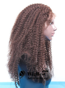 Best Afro Curl Brown Remy Human Hair Full Lace Wigs Sideview