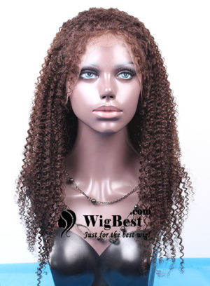 Best Afro Curl Brown Remy Human Hair Full Lace Wigs