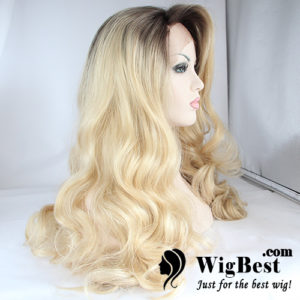 Wholesale Cheap Wavy Ombre Hair Dark Root Blonde Synthetic Lace Front Wigs Vendors HSLW001